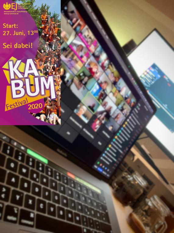 Einladung zu KABUM-Festival mit Notbook-Ansicht des Zoom-Meetings