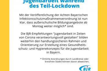 Jugendarbeit während des Teil-Lockdowns - Text des BJR dazu.