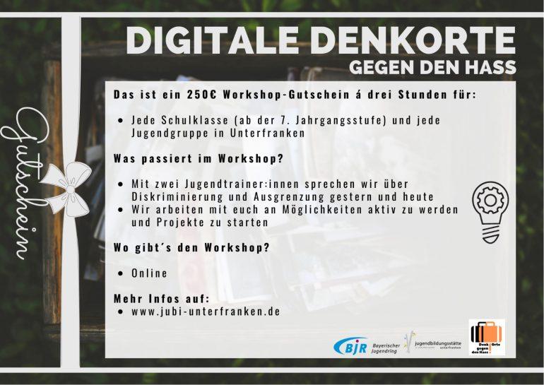 """250€ Workshop-Gutschein der JuBi Unterfranken im Rahmen von """"Denk-Orte gegen den Hass"""""""