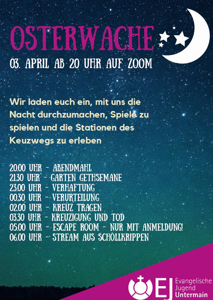 Osternacht Flyer mit Programmablauf