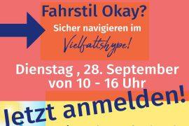 Werbebild zur Online-Auftaktveranstaltung: Fahrstil OK? Sicher navigieren im Vielfaltshype